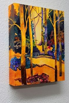 "CAROL NELSON FINE ART BLOG: Mixed Media Abstracted Trees Collage, ""Sunny Day 3""…"