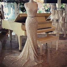 champagne sequin prom dress, long prom dress, Mermaid prom dress, beautiful prom dress, prom dresses 2016, 16069 sold by OkBridal. Shop more products from OkBridal on Storenvy, the home of independent small businesses all over the world.