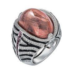 L'Odyssée de Cartier Parcours d'un Style 'Zebra' high jewelry ring in white gold, set with a 31.36ct cabochon-cut tourmaline, onyx, garnets ...