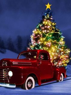 Items similar to 4 Country Christmas Tree Cards Holiday Season's Greetings Santa Claus Christmas Art Holiday Greeting Notecards/ Envelopes Set on Etsy Christmas Truck, Christmas Scenes, Noel Christmas, Country Christmas, Christmas Pictures, Winter Christmas, Redneck Christmas, Snow Pictures, Christmas Things