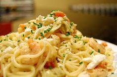 Greek-style pasta with shrimp and feta. This is so good! Use fresh oregano!