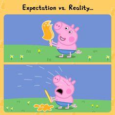 Peppa Pig Funny, Peppa Pig Memes, Peppa Pig Teddy, Clean Funny Memes, Stupid Funny Memes, Funny Relatable Memes, Ohana, Peppa Pig Stickers, Peppa Pig Imagenes