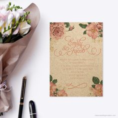 Vintage Floral Enviroboard Invitation. A floral inspired wedding invitation printed onto textured enviroboard for a more affordable wedding invitation that still incorporates style and class.