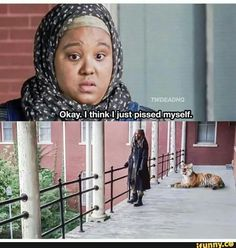 Nabila (Nadine Marissa) wanted to tell King Ezekiel (Khary Payton) about the garden but, becomes afraid of Shiva the Tiger. | The Walking Dead Season 7B Episode 13 'Bury Me Here'
