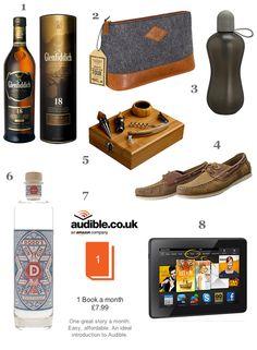 Father's Day Gift Ideas -   1. Glenfiddich18 Year Old Single Malt Whisky 2. Gentlemen's Hardware Wash Bag 3. bobble Sports Water Bottle 4. Barbour Flinder Boat Shoes 5. Sommelier Gift Set 6. The London Distillery Company Ltd's Dodd's Gin 7. Audible.co.uk Subscription 8. Amazon UK Kindle Fire HDX