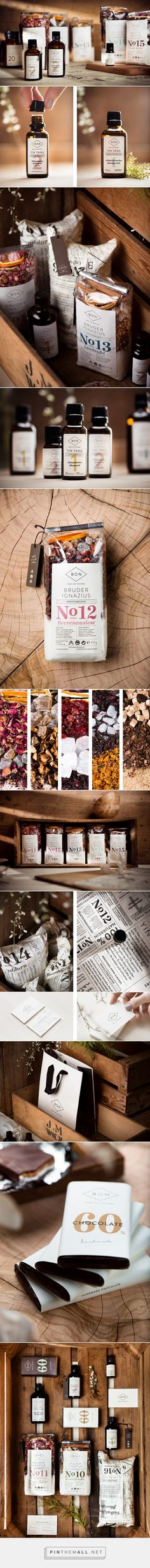 Best of Nature by moodley brand identity. Branding, Packaging, Web Design on Behance curated by Packaging Diva PD. Best Of Nature, short BON, only uses the most natural ingredients in traditional recipes in minimalist packaging.