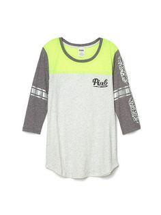 Colorblock Football Tee PINK LU-334-141 (59J)