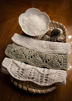 Pearl Spa Cloths (Knit) pattern by Cindy Abernethy; part of the Neighborhood Knits & Crochets Too: 2014 Rose City Yarn Crawl Pattern Collection eBook available on Ravelry. Photography by Joanna Schilling of Ember Owl Photography.