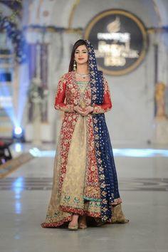 Uzma Baber - Pakistani Bridal Fashion at Pantene Bridal Couture Week 2013 PBCW… Pakistani Dress Design, Pakistani Wedding Dresses, Pakistani Outfits, Indian Dresses, Shadi Dresses, Pakistani Couture, Day Dresses, Pakistan Bridal, Donia