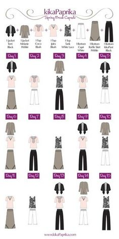 Capsule dressing allows women to take a few fantastic items, mix-and-match them and create tons of different outfits.  It helps your wardrobe go further, keeps you looking fresh and sharp and can cut down on your shopping...  Photo shows how 8 items of clothing can be combined for 27 different outfits.