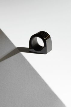 Sculptural Onyx Ring :: Bold ring layered with Onyx and Gold, hand-ground  NIV series | uncommon matters