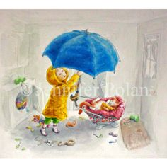 Rainy Day Matted 8x10 Print ($30) ❤ liked on Polyvore featuring home, home decor, wall art, water color painting, white home decor, watercolor painting, white wall art and watercolour painting