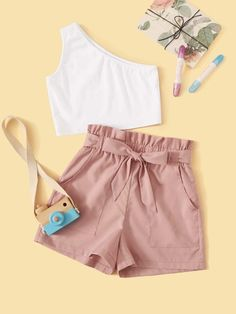Multicolor Casual Sleeveless Cotton Colorblock Slight Stretch Summer Girls Two-piece Outfits, size features are:Bust: ,Length: ,Sleeve Length:Sleeveless Really Cute Outfits, Cute Lazy Outfits, Teenage Girl Outfits, Girls Fashion Clothes, Teen Fashion Outfits, Girly Outfits, Short Outfits, Outfits For Teens, Cool Outfits