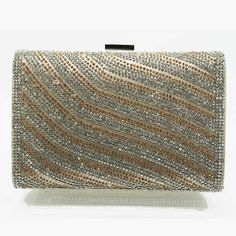 Tigerstars l $32.00 New Silver Champagne Rhinestone Hardframe Evening Case Purse Clutch Handbag