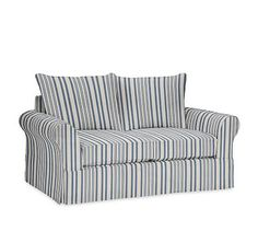 PB Comfort Roll Arm Love Seat Slipcover, Knife Edge, Antique Stripe Blue