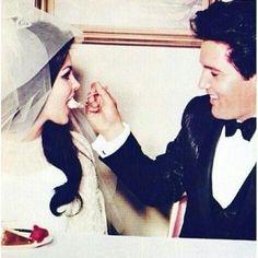 Elvis and Priscilla Presley on their wedding day.
