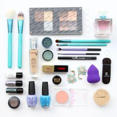 Flatlay by M.May, MissMMayhem. Brands featured: Sigma, Inglot, Lancome, MAC Cosmetics, Real Techniques, Maybelline, YSL Beauty, Rae Morris, OPI, Heavy Rotation and Sasatinne.