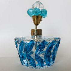 Vtg 1950s - 60s Art Cut Glass Jeweled Topper Blue Atomizer Perfume Scent Bottle