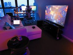 Apartment Video Game Living Room Ideas - Best Video Game Room Ideas: Cool Gaming Setup Designs, Gamer Room Decor, and Apartment Decorating Ideas - Bedroom, Living Room, Small Room Best Gaming Setup, Gaming Room Setup, Computer Setup, Gaming Rooms, Living Room For Gamers, Pc Computer, Setup Desk, Pc Setup, Apartamento New York