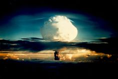 """Thermonuclear Bomb:  Exploded on Enewetak on Oct. 31, 1952.  """"The first fission (""""atomic"""") bomb test released the same amount of energy as approximately 20,000 tons of TNT. The first thermonuclear (""""hydrogen"""") bomb test released the same amount of energy as approximately 10,000,000 tons of TNT.""""  Wikipedia """"Nuclear weapon""""."""