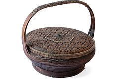 Antique Japanese Rice Basket with Lid