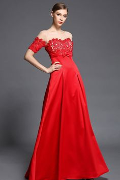 Robe rouge empire haut appliquée dentelle guipure   transpanrent à manche  courte b14f0010093c