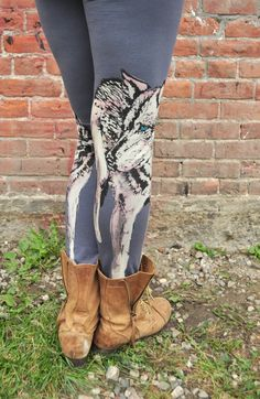 Hey, I found this really awesome Etsy listing at https://www.etsy.com/listing/247626804/grey-yoga-pants-wolf-print-hand-painted
