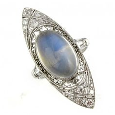 Art Deco Moonstone and Diamond Ring.
