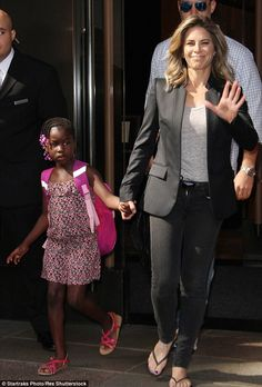 Mommy-daughter time: Jillian Michaels was spotted out and about in New York with her daughter Lukensia on Tuesday