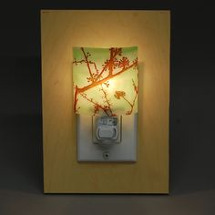 Green Plum Blossom Fused Glass Night Light by fuzing on Etsy