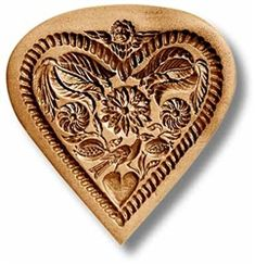 Flower Heart with Cupid and Dove springerle cookie mold