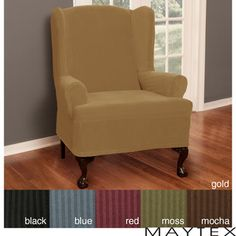 @Overstock - Deep rich texture is featured on this polyester wing chair slipcover. This cover is perfect for adding color to any decor, and the stretchy construction, including spandex, assures a good fit to almost all wing chairs up to 26 inches wide.http://www.overstock.com/Home-Garden/Maytex-Collin-Wing-Chair-Slipcover/4129080/product.html?CID=214117 $57.99