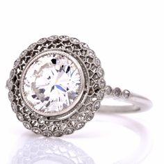 Estate  2.70 Diamond Platinum Filigree Engagement Ring
