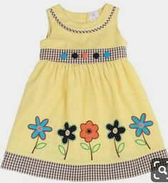 Lele for Kids Yellow Gingham-Accent Floral A-Line Dress - Toddler & Girls Frocks For Girls, Little Girl Outfits, Toddler Girl Dresses, Little Girl Dresses, Kids Outfits, Toddler Girls, Baby Dress Design, Baby Girl Dress Patterns, Skirt Patterns