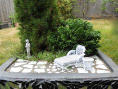 Mini garden with half-inch scale garden accessories