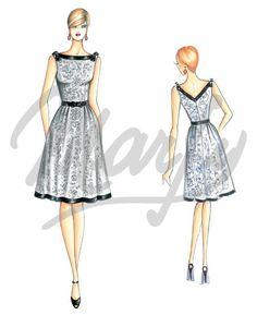 robe style Années '50 au corsage moulant sans manches bordé par un ruban sur l'encolure bateau qui descend en V dans le dos ceinture à la taille toujours avec ruban et jupe évasée avec plis à la