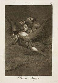 Francisco Goya, Capricho No. 64: Buen viaje (Bon voyage), 1797-1799.
