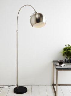 Chrome Reynold Floor Lamp - floor lamps - Home, Lighting & Furniture - BHS Bhs Lighting, Home Lighting, Desk Lamp, Table Lamp, Long Room, Studio Room, Living Room Inspiration, My Living Room, Wood Wall