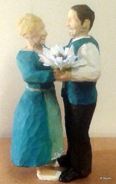 Popular Brautpaar in Blau geschnitzt nach Foto des Brautpaares