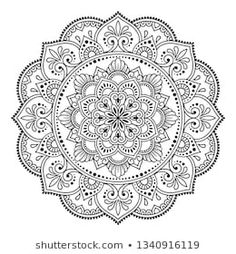 Circular pattern in form of mandala with flower for Henna, Mehndi, tattoo, decoration. Decorative ornament in ethnic oriental style. Flower Coloring Pages, Mandala Coloring Pages, Coloring Book Pages, Flor Henna, Henna Mehndi, Mehndi Tattoo, Mehndi Flower, Circular Pattern, Mandala Pattern