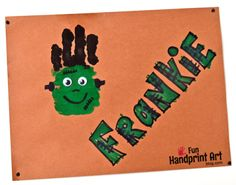 Super cute Halloween activity for kids - make a Frankenstein Handprint Craft! Halloween Activities For Kids, Halloween Crafts For Kids, Cute Halloween, Holiday Crafts, Holiday Ideas, Christmas Gifts, Fall Crafts For Toddlers, Toddler Crafts, Preschool Crafts