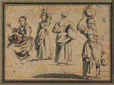 """studies of 4 women"" by Jan Siberechts, Flemish painter (1627 - 1703)"