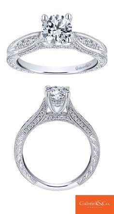 A classic 14k White Gold Diamond Straight Engagement Ring. Discover your perfect engagement ring at Gabriel & Co.