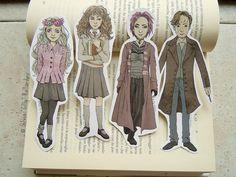 Harry Potter bookmarks: Luna Lovegood, Hermione Granger, Nymphadora Tonks, Remus Lupin.