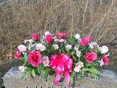 Headstone Memorial Tombstone Cemetery Silk Flower Saddle Shades of Pink