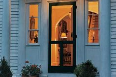 A screen door made from wood is the most elegant choice for keeping out unwelcome guests. DIY Old Fashioned screen door - How to build and install. Wood Screen Door, Wooden Screen, Screen Doors, Door Design, House Design, Door Steps, Screened In Porch, Reno, The Ranch