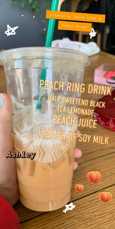 Ask for a half sweetened black tea lemonade with peach juice, and a splash of soy milk 🍑 Vegan Starbucks, Secret Starbucks Recipes, Starbucks Secret Menu Drinks, How To Order Starbucks, Yummy Drinks, Peach Juice, Soy Milk, Starbuck Drinks, Colorful Drinks