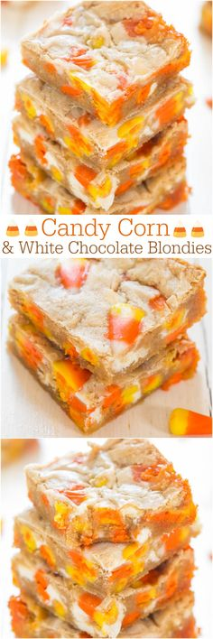 Candy Corn and White Chocolate Blondies - Wondering what to do with your candy corn? Bake it into soft, easy blondies! Best.Use.Ever. Fun #Halloween treat!