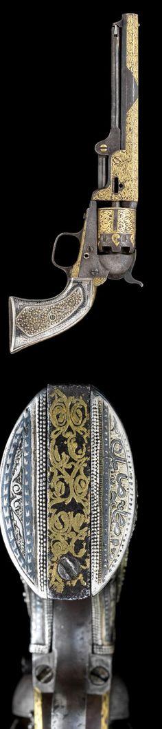 a Calibre engraved, gilt and silver-mounted Colt Model 1851 six-shot percussion Navy Revolver decorated in Turkey, NO. for 1863 Weapons Guns, Guns And Ammo, Rifles, Black Powder Guns, Gun Art, Custom Guns, Arm Armor, Cool Guns, Le Far West