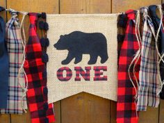 WOODLAND BEAR Birthday Banner Highchair High Chair Lumberjack Buffalo Plaid Red Brown Party Camping Hunting  First Wild One Bunting Garland by SeacliffeCottage on Etsy https://www.etsy.com/listing/248592986/woodland-bear-birthday-banner-highchair